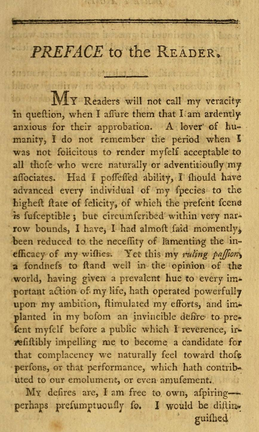 "JUDITH SARGENT MURRAY, ""Preface to the Reader,"" The Gleaner, vol ..."