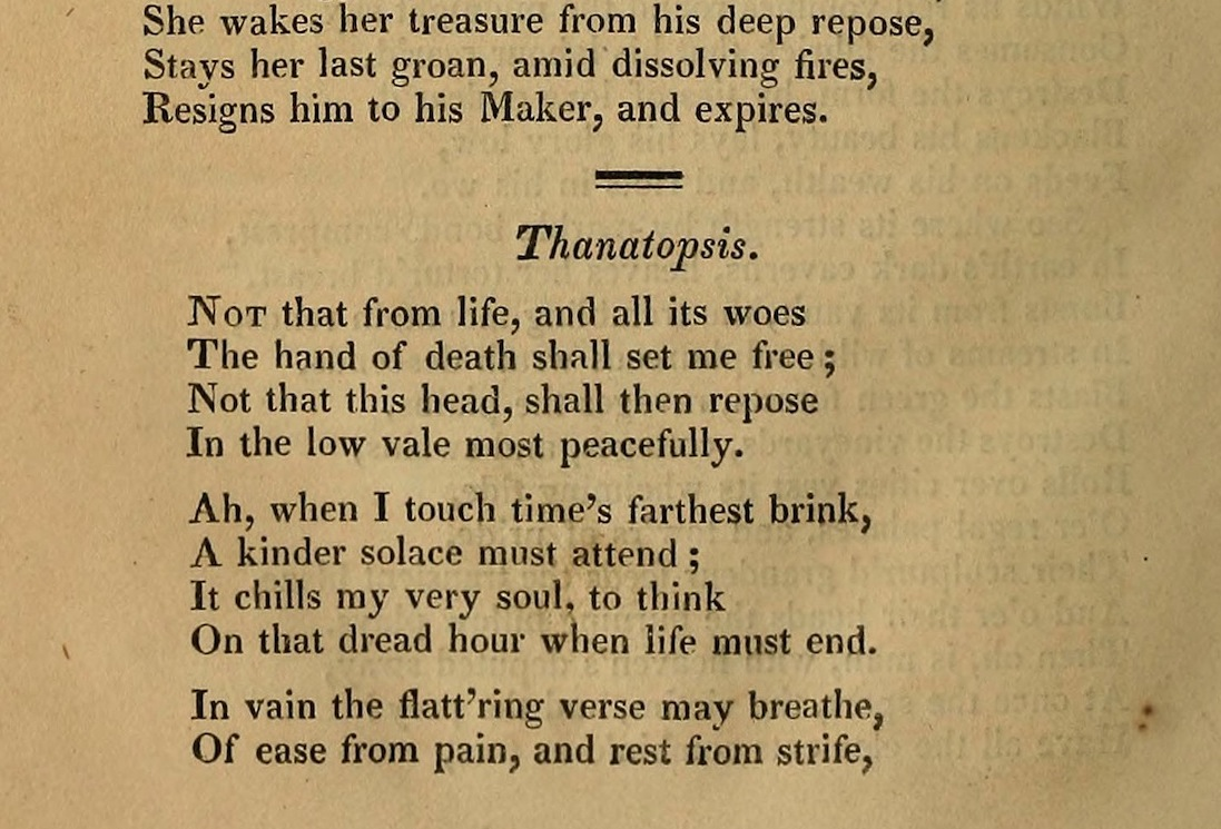 the theme of death in thanatopsis by william cullen bryant The poem, thanatopsis, written by william cullen bryant, is a wonderful literary work which explores the often controversial questions of death.