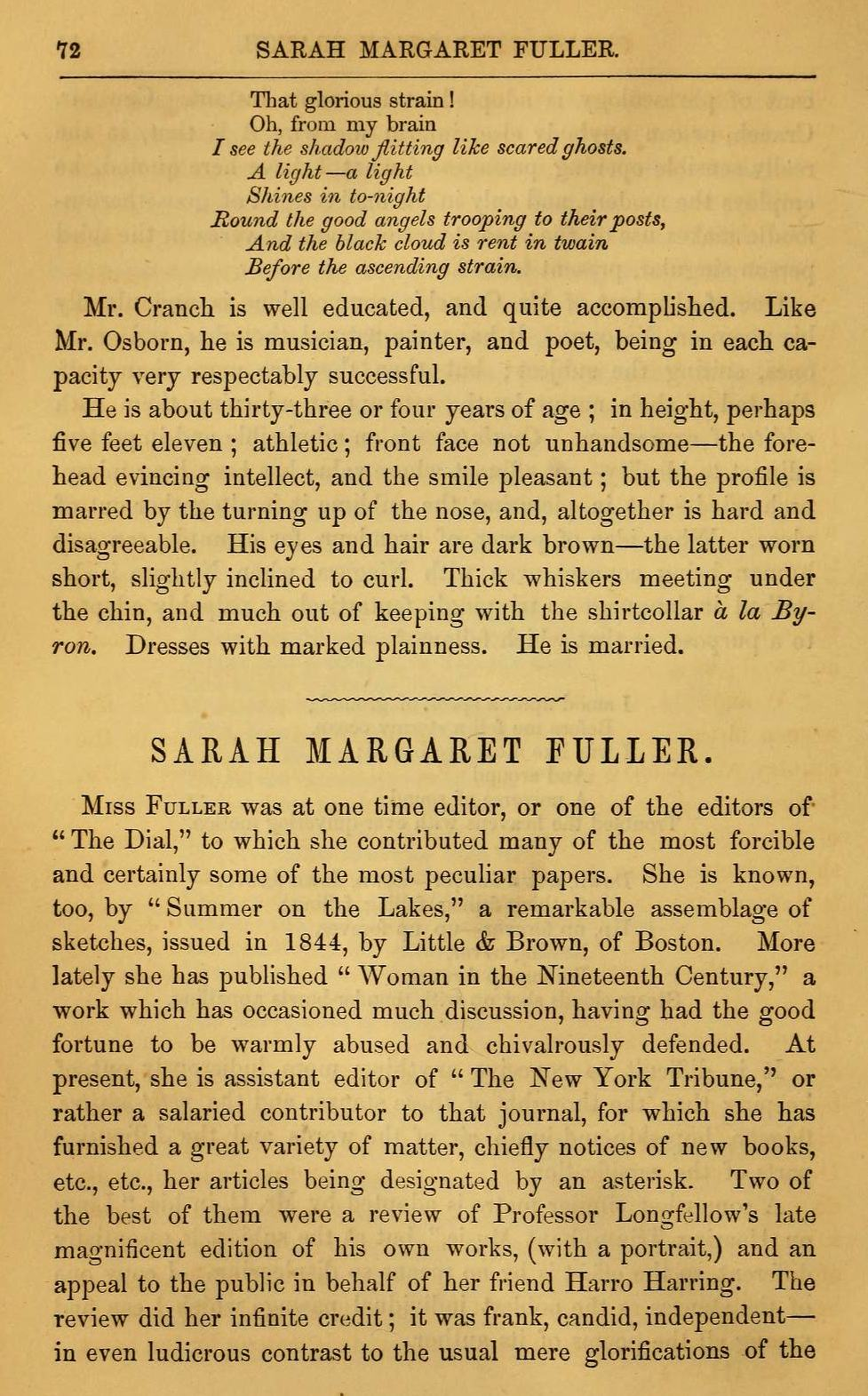 margaret fuller essay Biography margaret fuller was born sarah margaret fuller on may 23, 1810 in cambridgeport, massachusetts she was a very intelligent, even precocious, child who.