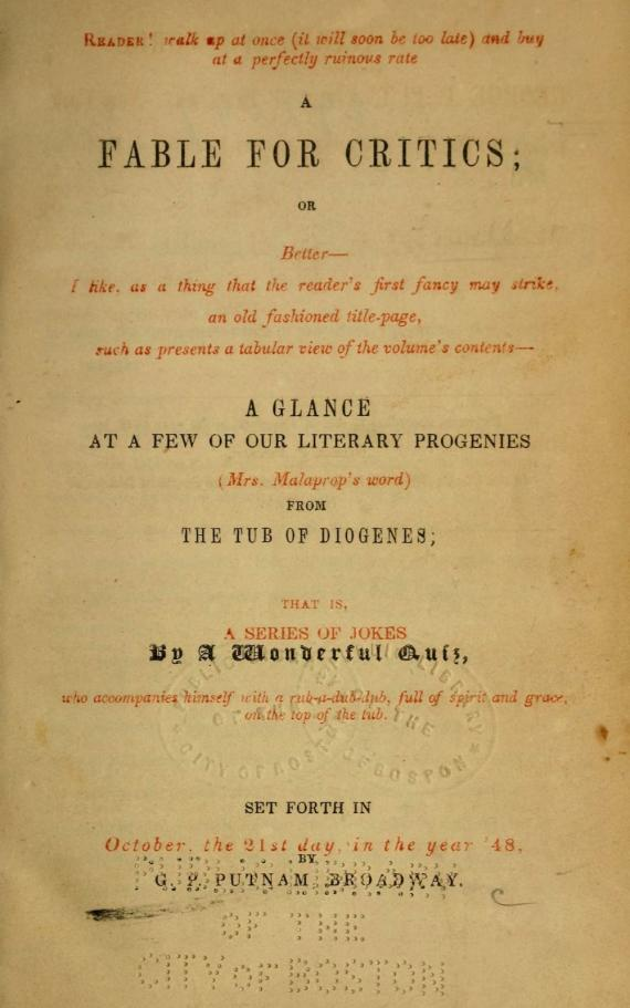 Image of A Fable for Critics