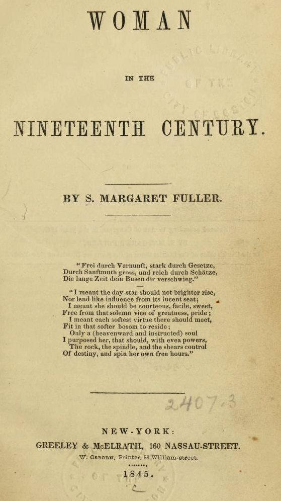 sarah margaret fuller  woman in the nineteenth century