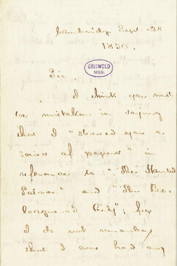 Image of letter from Henry Wadsworth Longfellow to Rufus Wilmot Griswold
