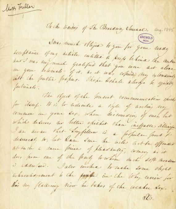 Image of letter from Sarah Margaret Fuller to Edgar Allan Poe