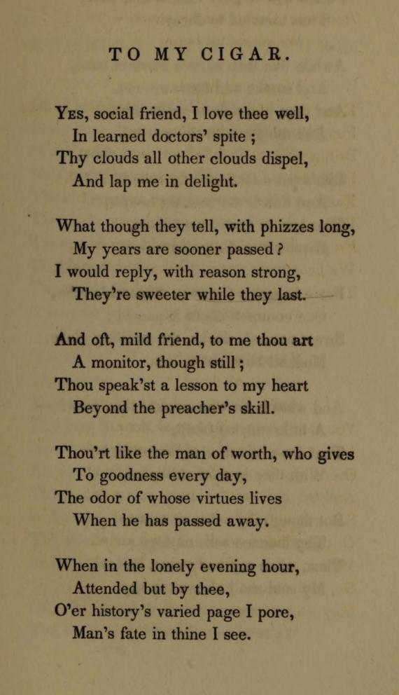 "Image of the poem ""My Cigar"""