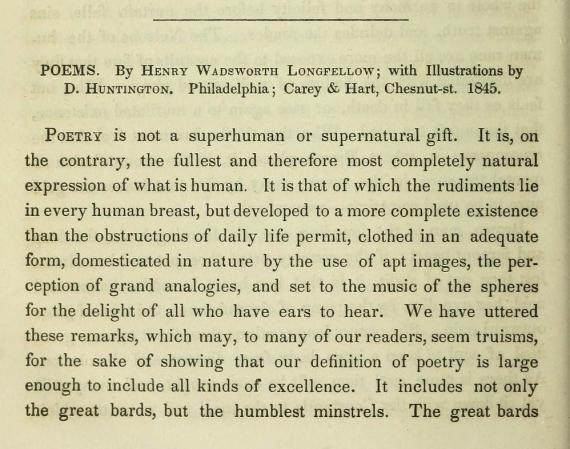 "Image of Fuller's review of ""Poems by Henry Wadsworth Longfellow"""