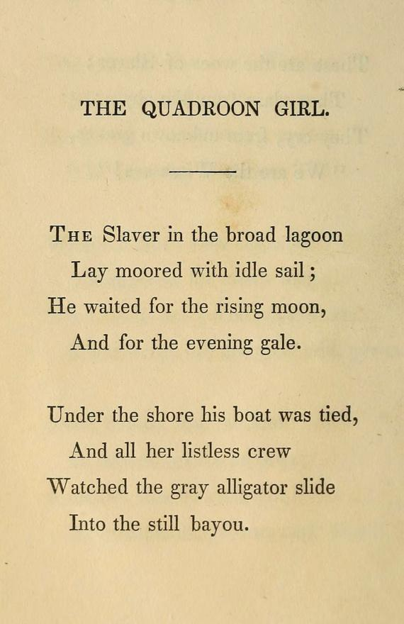 "Image of Longfellow's ""The Quadroon Girl"""
