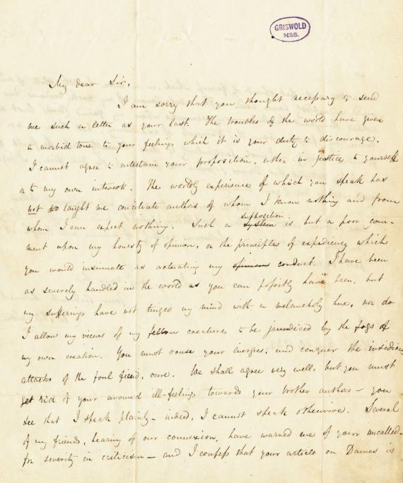 Image of letter William E. Burton to Edgar Allan Poe (transcript below)