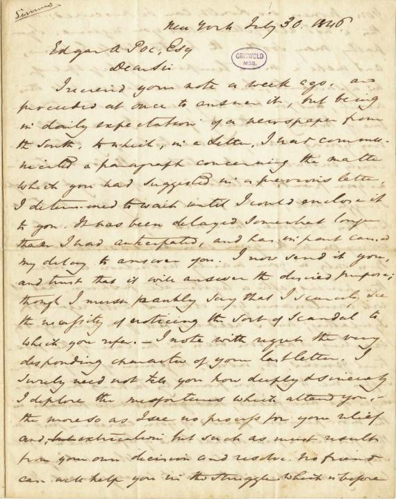 Image of letter from Edgar Allan Poe to Frederick W. Thomas (transcript below)